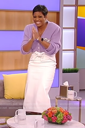 Tamron's bow embellished cardigan on Tamron Hall Show