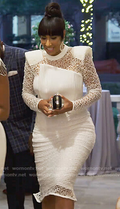 Tanya Sam's white lace midi dress on The Real Housewives of Atlanta
