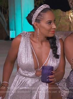 Tanya Sam's metallic dress on The Real Housewives of Atlanta