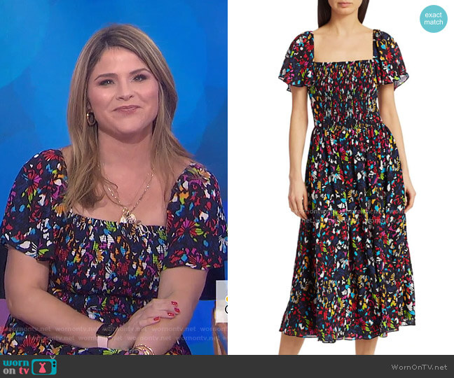 Glenda Smocked Silk Midi Dress by Tanya Taylor worn by Jenna Bush Hager  on Today