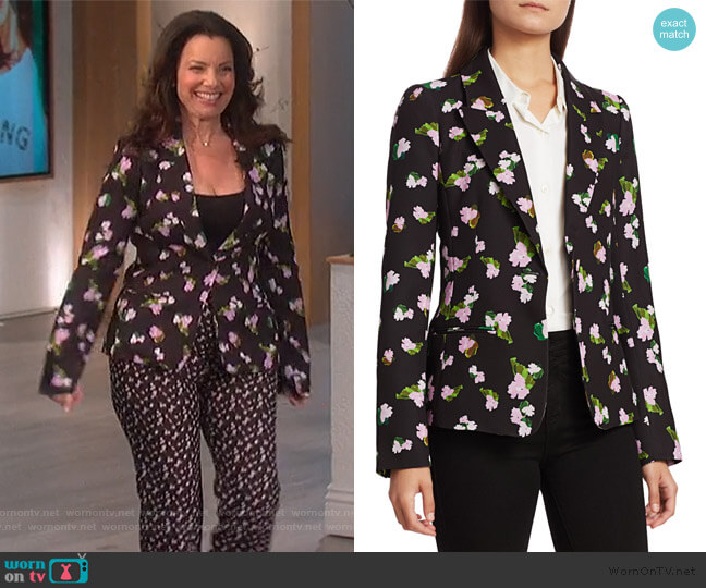 Waverly Floral Blazer by Tanya Taylor worn by Fran Drescher on The Talk