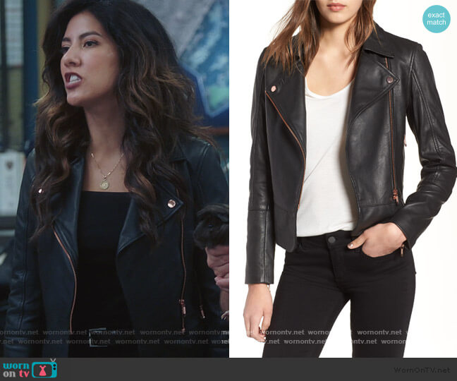 Lizia Leather Biker Jacket by Ted Baker worn by Rosa Diaz (Stephanie Beatriz) on Brooklyn Nine-Nine