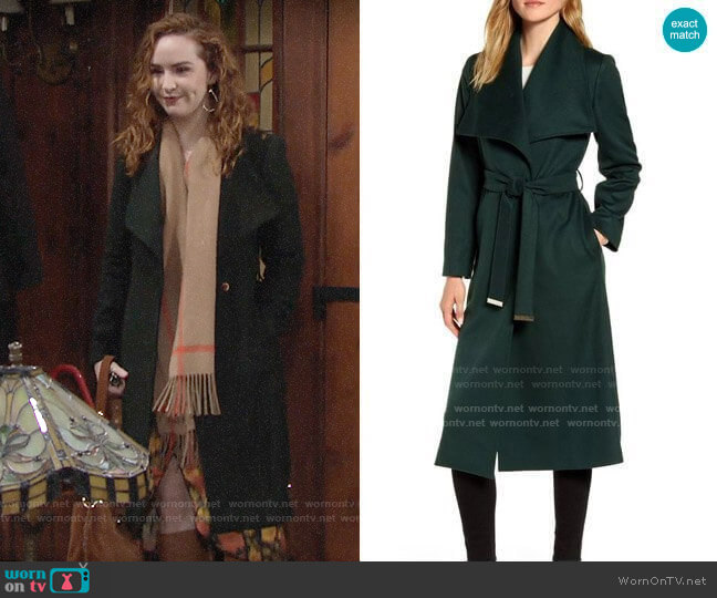 Ted Baker Green Wrap Coat worn by Mariah Copeland (Camryn Grimes) on The Young & the Restless