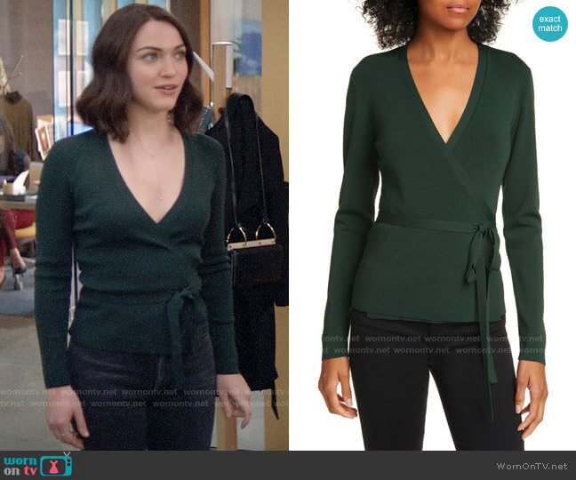 Ted Baker Gworji Long Sleeve Wrap Sweater worn by Cara Bloom (Violett Beane) on God Friended Me