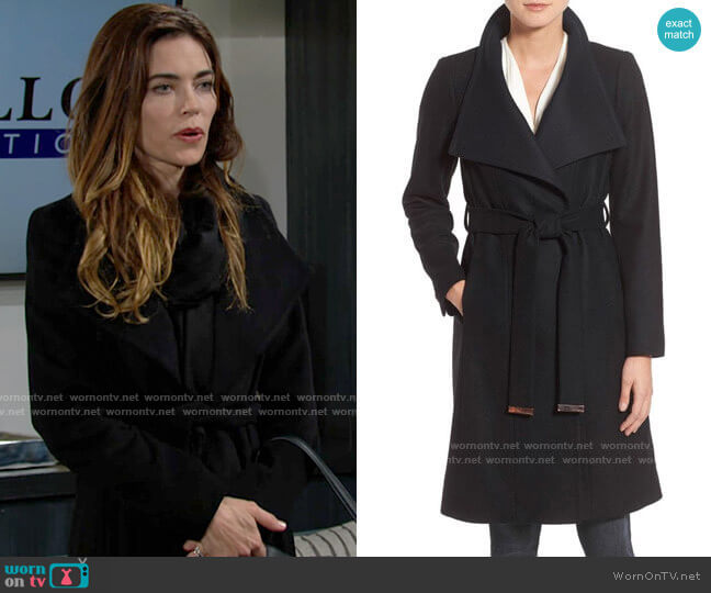 Ted Baker Wrap Coat worn by Victoria Newman (Amelia Heinle) on The Young & the Restless
