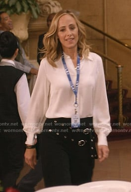 Teddy's white contrast stitch blouse and belted pants on Greys Anatomy