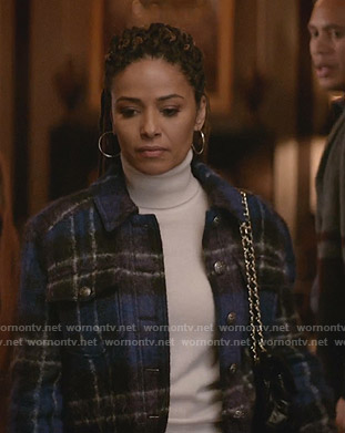 Teri's blue plaid wool jacket on Empire