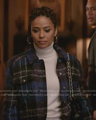 Teri's blue plaid wool jacket on Empire