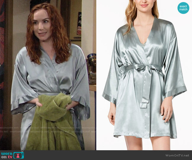 Thalia Sodi Satin Kimono Wrap in Green Dust worn by Mariah Copeland (Camryn Grimes) on The Young & the Restless