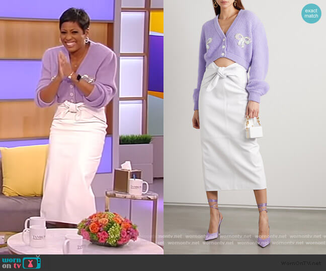 Butterfly bow-detailed Leather Midi Skirt by The Attico worn by Tamron Hall  on Tamron Hall Show