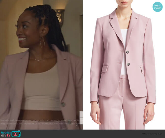 Carissa Wool Blazer in Dusty Lilac by Theory worn by Rochelle Mosley (Kayla Smith) on All American