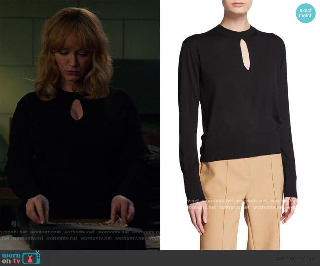 Keyhole Turtleneck Regal Wool Sweater by Theory worn by Beth Boland (Christina Hendricks) on Good Girls