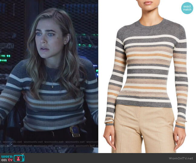 Regal Cashmere Striped Crewneck Sweater by Theory worn by Michaela Stone (Melissa Roxburgh) on Manifest