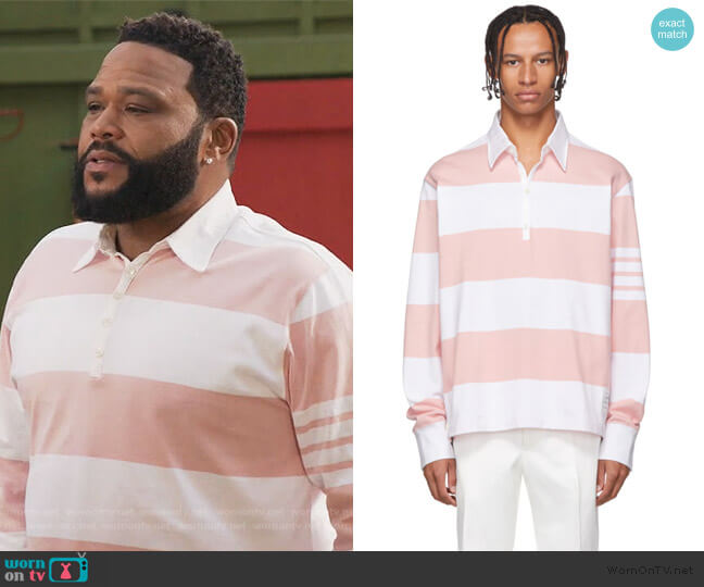 Pink and White Oversized Long Sleeve Polo by Thom Browne worn by Andre Johnson (Anthony Anderson) on Blackish