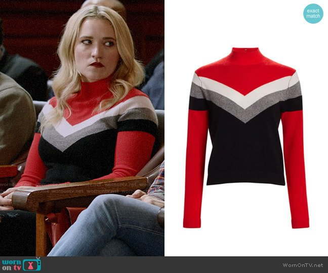 Threads of Prvlg Cashmere Chevron Funnel Neck Sweater worn by Roxy Doyle (Emily Osment) on Almost Family