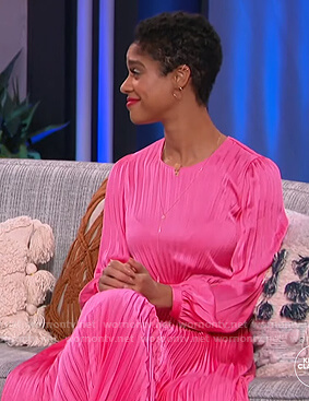 Tiffany Boone's pink pleated dress on The Kelly Clarkson Show