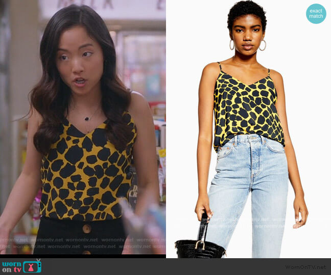 Giraffe Cami by Topshop worn by Janet (Andrea Bang) on Kims Convenience