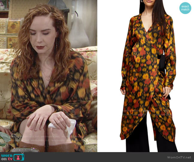 Topshop Boutique Orange Floral Wrap Dress worn by Mariah Copeland (Camryn Grimes) on The Young & the Restless