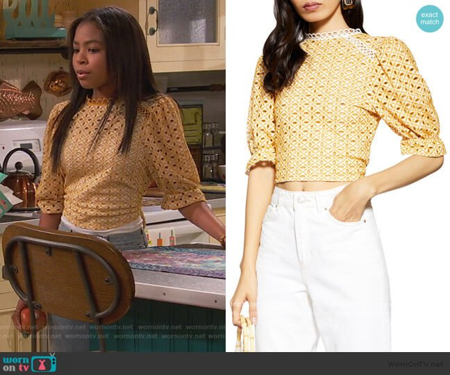 Broderie Tie Back Top by Topshop worn by Nia Baxter (Navia Robinson) on Ravens Home
