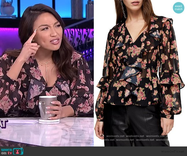 Floral Print Ruffle Blouse by Topshop worn by Jeannie Mai  on The Real