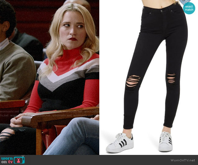 Topshop Jamie High Waist Ripped Black Jeans worn by Roxy Doyle (Emily Osment) on Almost Family