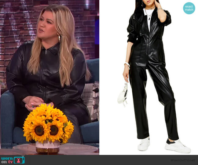 Long Sleeve Straight Leg Faux Leather Jumpsuit by Topshop worn by Kelly Clarkson  on The Kelly Clarkson Show