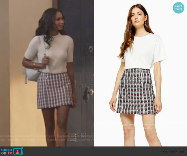 Pink Boucle Mini Skirt by Topshop worn by Layla Keating (Greta Onieogou) on All American