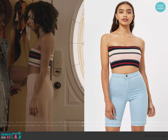 Rib Stripe Bandeau Top by Topshop worn by Patience (Chelsea Tavares) on All American