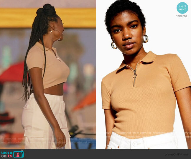 Crop Polo Shirt by Topshop worn by Rochelle Mosley (Kayla Smith) on All American