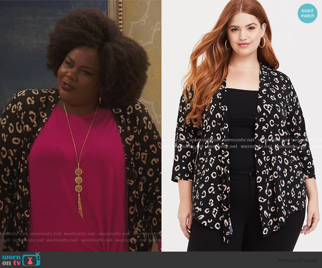 Black Leopard Studio Cardigan by Torrid worn by Nicole Byer on Brooklyn Nine Nine