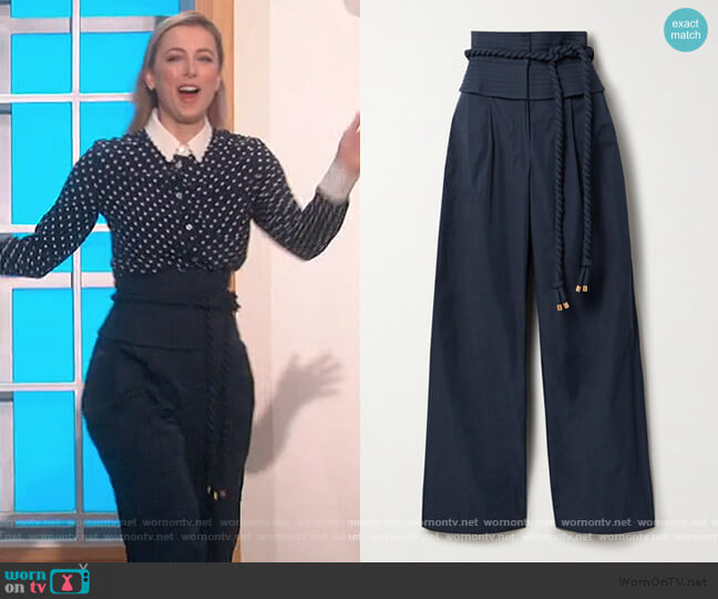 Belted Shell wide-leg pants by Tory Burch worn by Iliza Shlesinger on The Talk