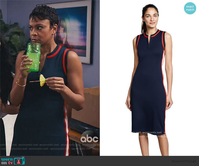Sleeveless Track Dress by Tory Sport worn by Angela (Carly Hughes ) on American Housewife