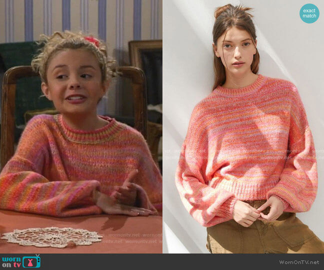 Agatha Balloon Sleeve Sweater by Urban Outfitters worn by Destiny Baker (Mallory James Mahoney) on Bunkd