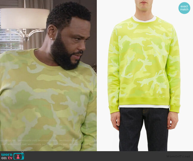 Camouflage-print cotton-blend sweatshirt by Valentino worn by Andre Johnson (Anthony Anderson) on Blackish