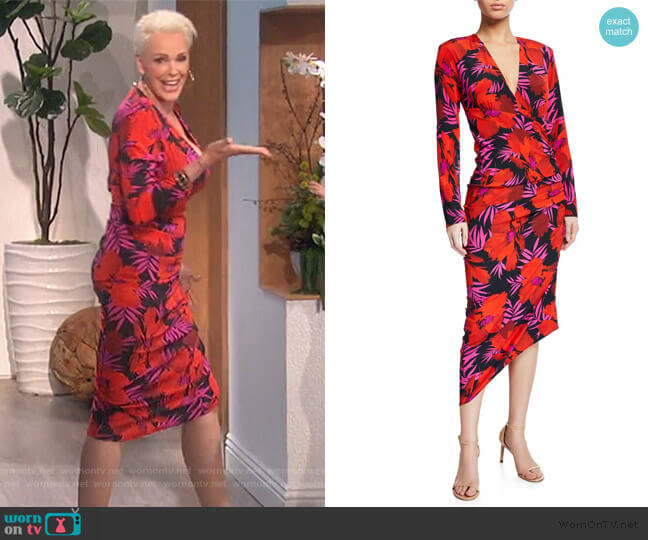 Alvaro Floral-Print Asymmetric Ruched Dress by Veronica Beard worn by Brigitte Nielsen on The Talk