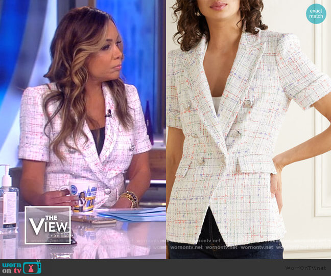 Jenny Dickey double-breasted Tweed Blazer by Veronica Beard worn by Sunny Hostin  on The View