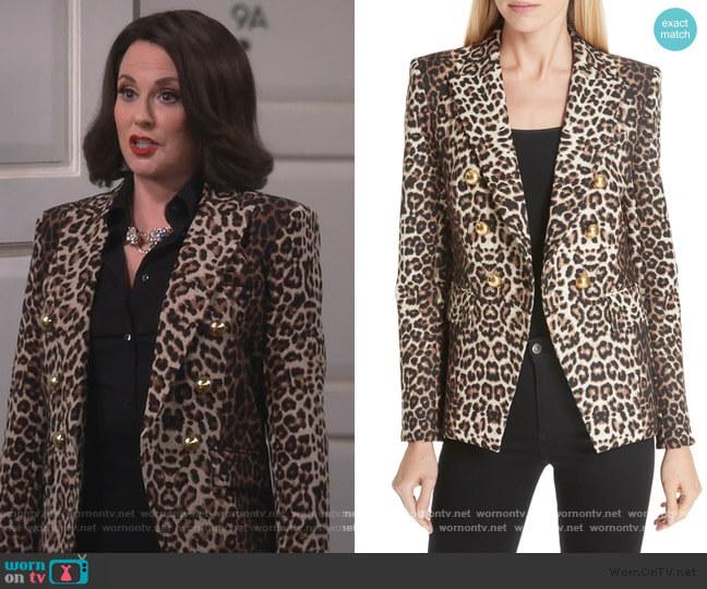 Miller Leopard Print Dickey Jacket by Veronica Beard worn by Karen Walker (Megan Mullally) on Will & Grace