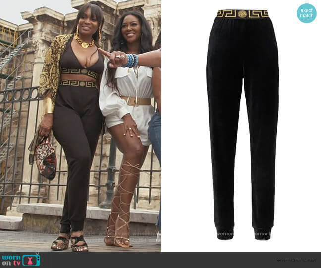 Greek Key-trimmed velvet joggers by Versace worn by Marlo Hampton on The Real Housewives of Atlanta