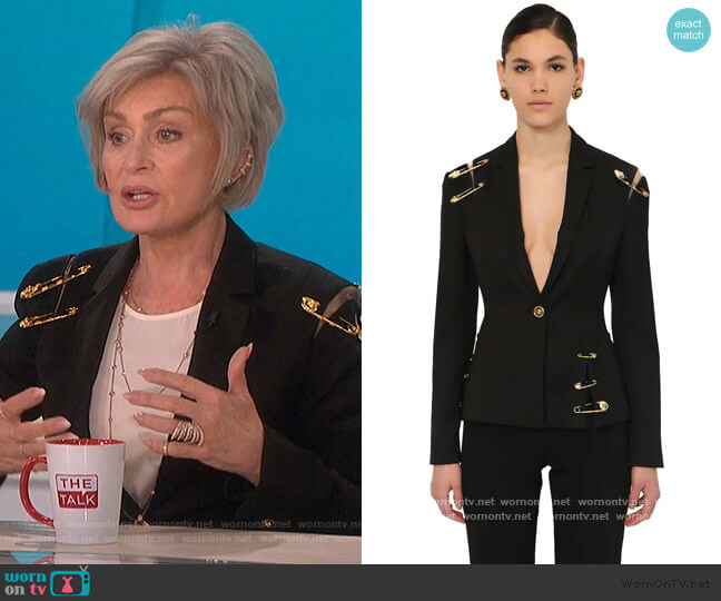 Single Breast Gabardine Jacket by Versace worn by Sharon Osbourne  on The Talk