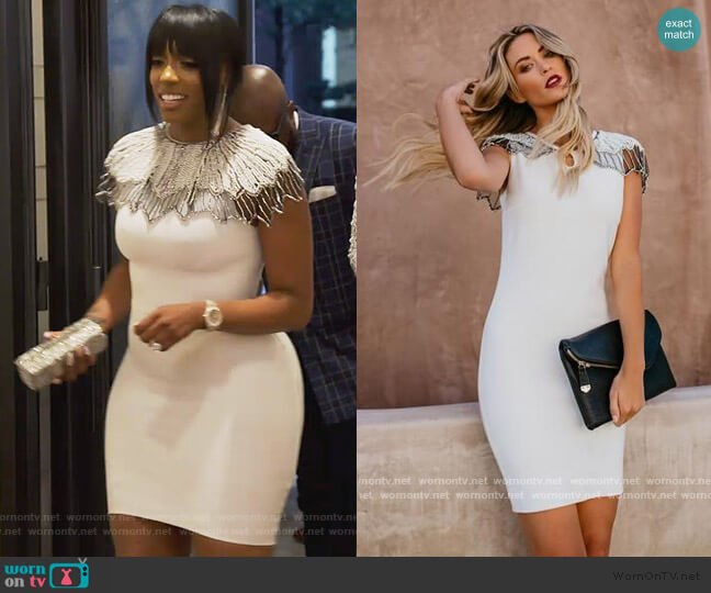 Embellished Cape Bodycon Dress by Vici Ritzy worn by Porsha Williams  on The Real Housewives of Atlanta