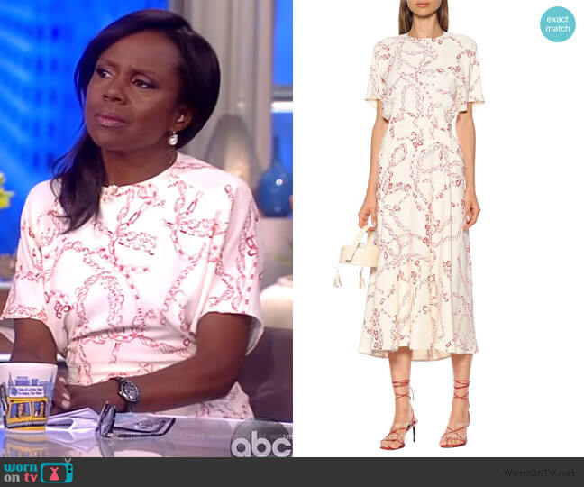 Printed cady midi dress by Victoria Beckham worn by Deborah Roberts on The View