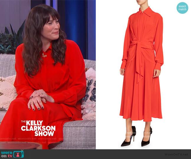 Silk Chiffon Tie-Waist Shirtdress by Victoria Beckham worn by Liv Tyler on The Kelly Clarkson Show
