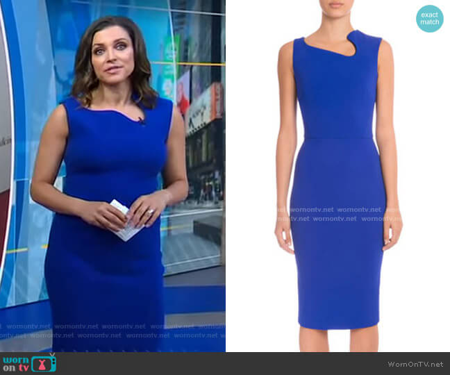 Sleeveless Asymmetric-Neck Sheath Dress by Victoria Beckham worn by Paula Faris  on Good Morning America