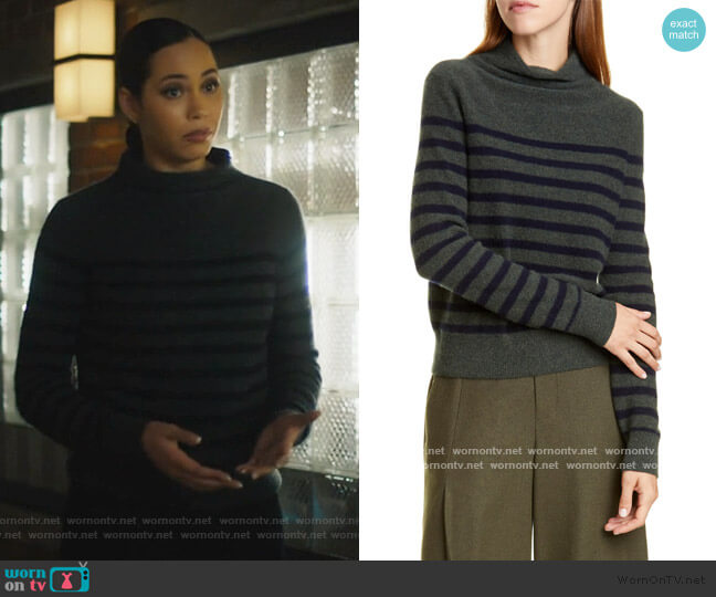 Breton Stripe Turtleneck Cashmere Sweater by Vince worn by Macy Vaughn (Madeleine Mantock) on Charmed