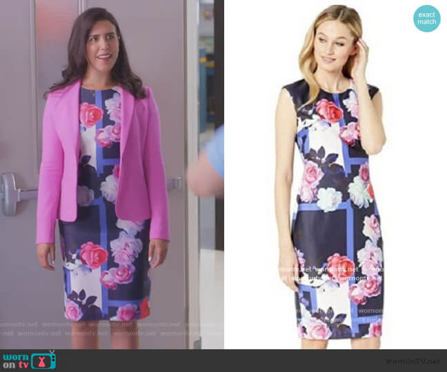 Floral Sheath Dress by Vince Camuto worn by Shannon Ross (Nicole Power) on Kims Convenience