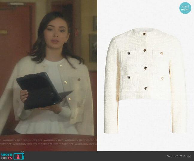 Violi Tweed JAcket by Maje worn by Bess (Maddison Jaizani) on Nancy Drew