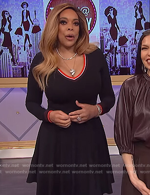 Wendy's black flare dress on The Wendy Williams Show
