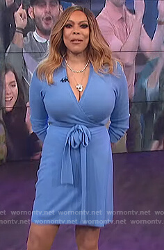 Wendy's blue knit wrap dress on The Wendy Williams Show
