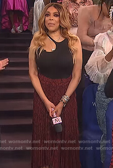 Wendy's black cutout bodysuit and snakeskin skirt on The Wendy Williams Show