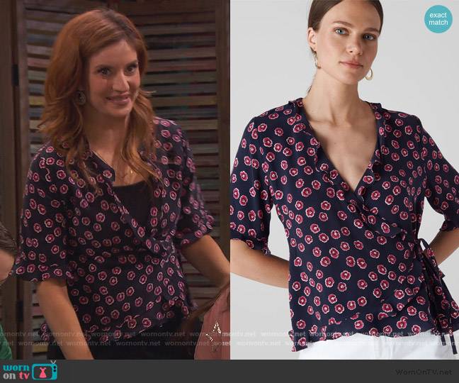 Lenno Print Frill Wrap Top by Whistles worn by Chelsea Grayson (Anneliese van der Pol) on Ravens Home
